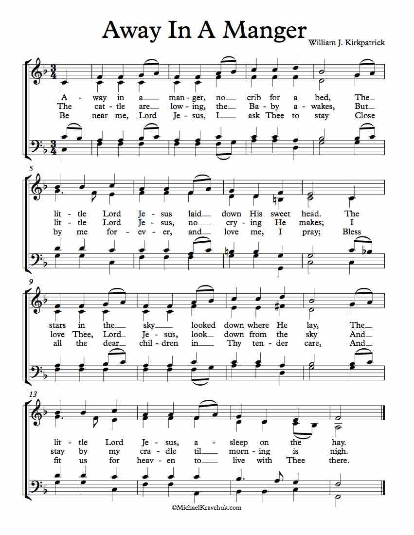 Free Choir Sheet Music - Away In A Manger (Cradle Song)