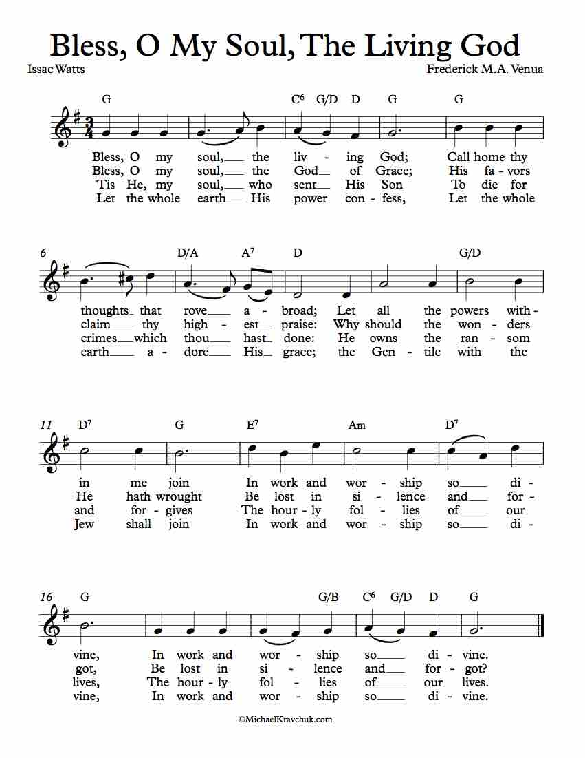 Free Lead Sheet - Bless, O My Soul, The Living God