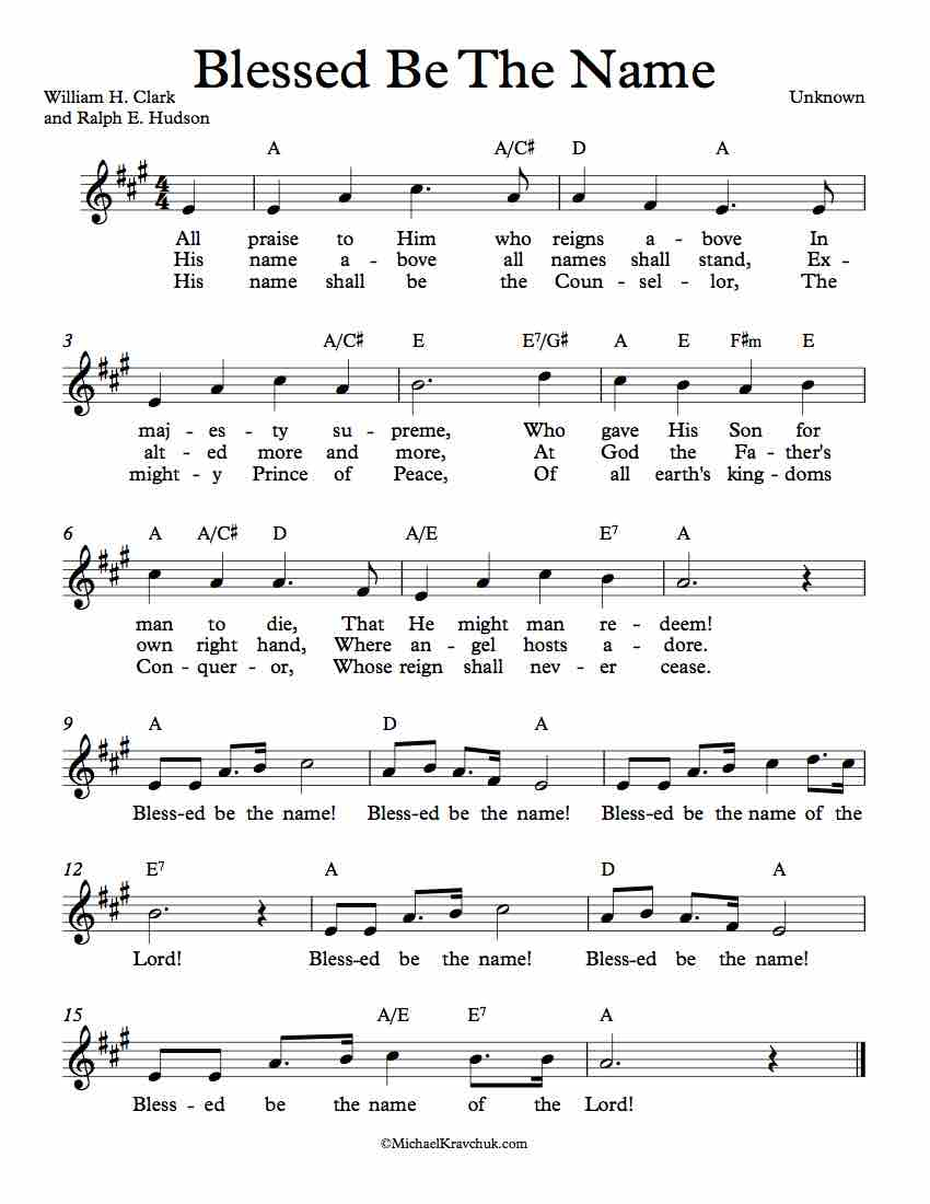 Free Lead Sheet - Blessed Be The Name