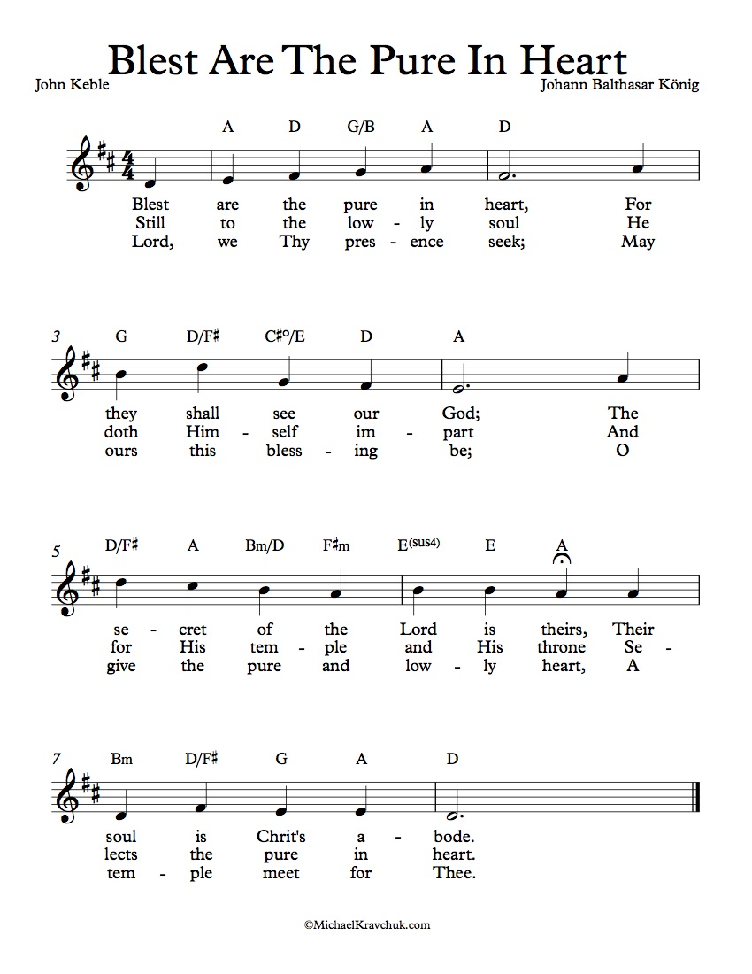 Free Lead Sheet - Blest Are The Pure In Heart