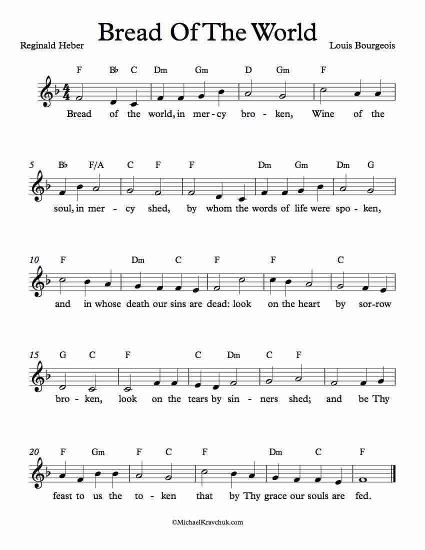 Free Lead Sheet - Bread Of The World