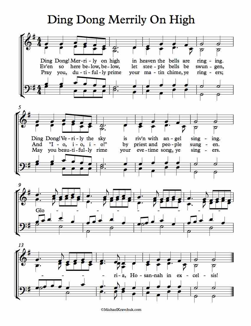 SATB Separate Voice Parts – Ding Dong, Merrily On High – Michael