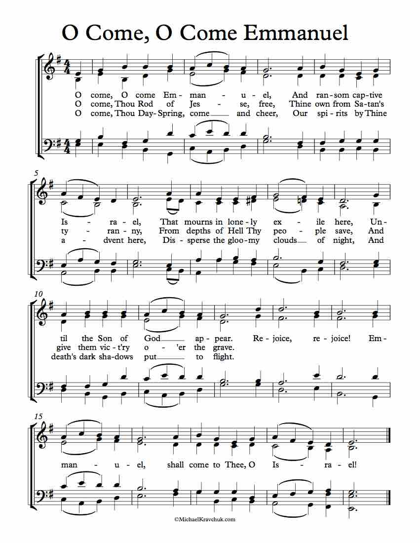 Free Choir Sheet Music – O Come, O Come Emmanuel – Michael ...