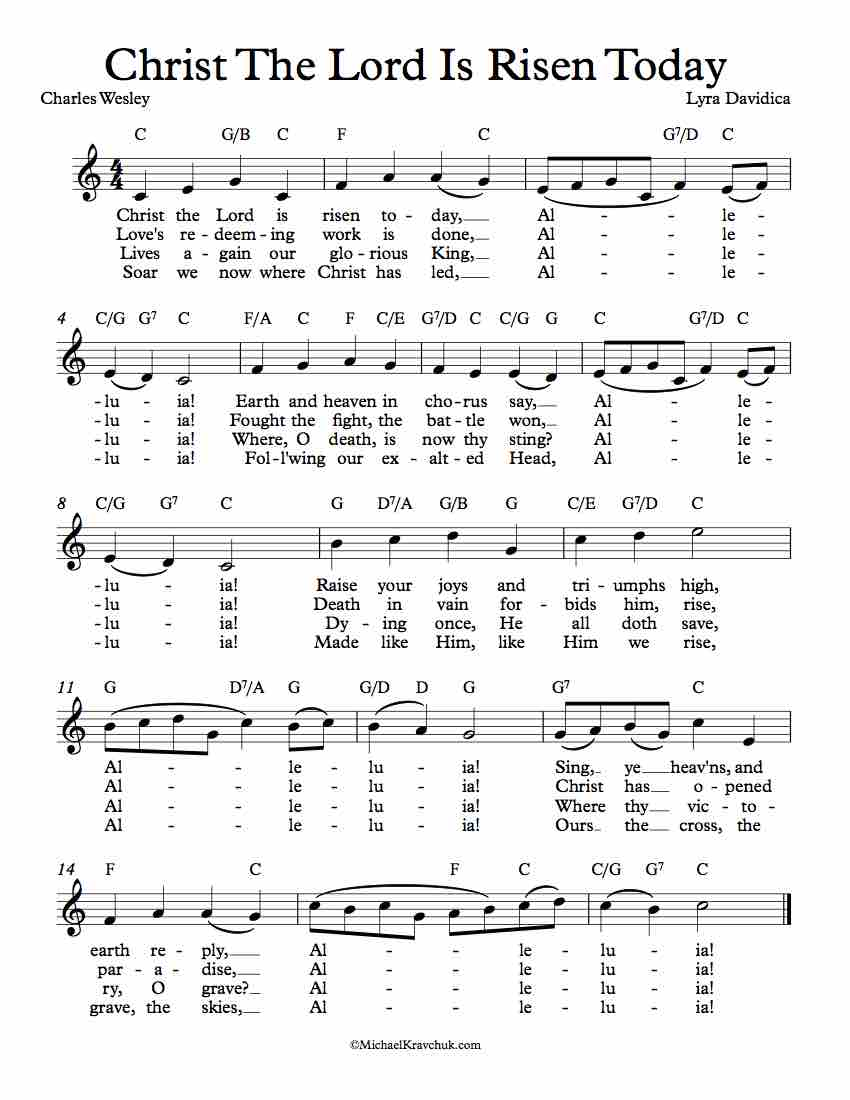 Free Lead Sheet - Christ The Lord Is Risen Today