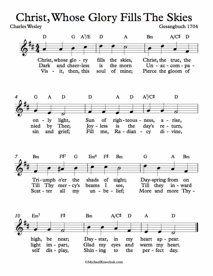 Free Lead Sheet - Christ, Whose Glory Fills The Skies (Ratisbon)