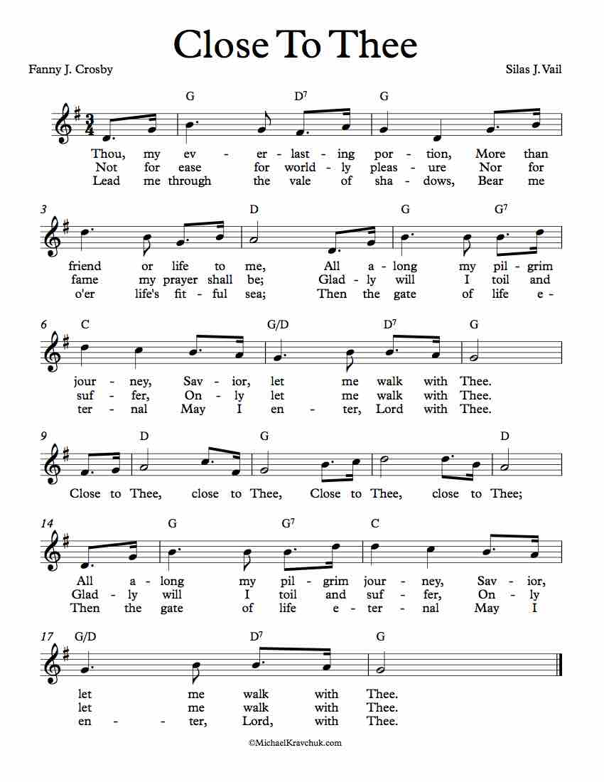 Free Lead Sheet - Close To Thee