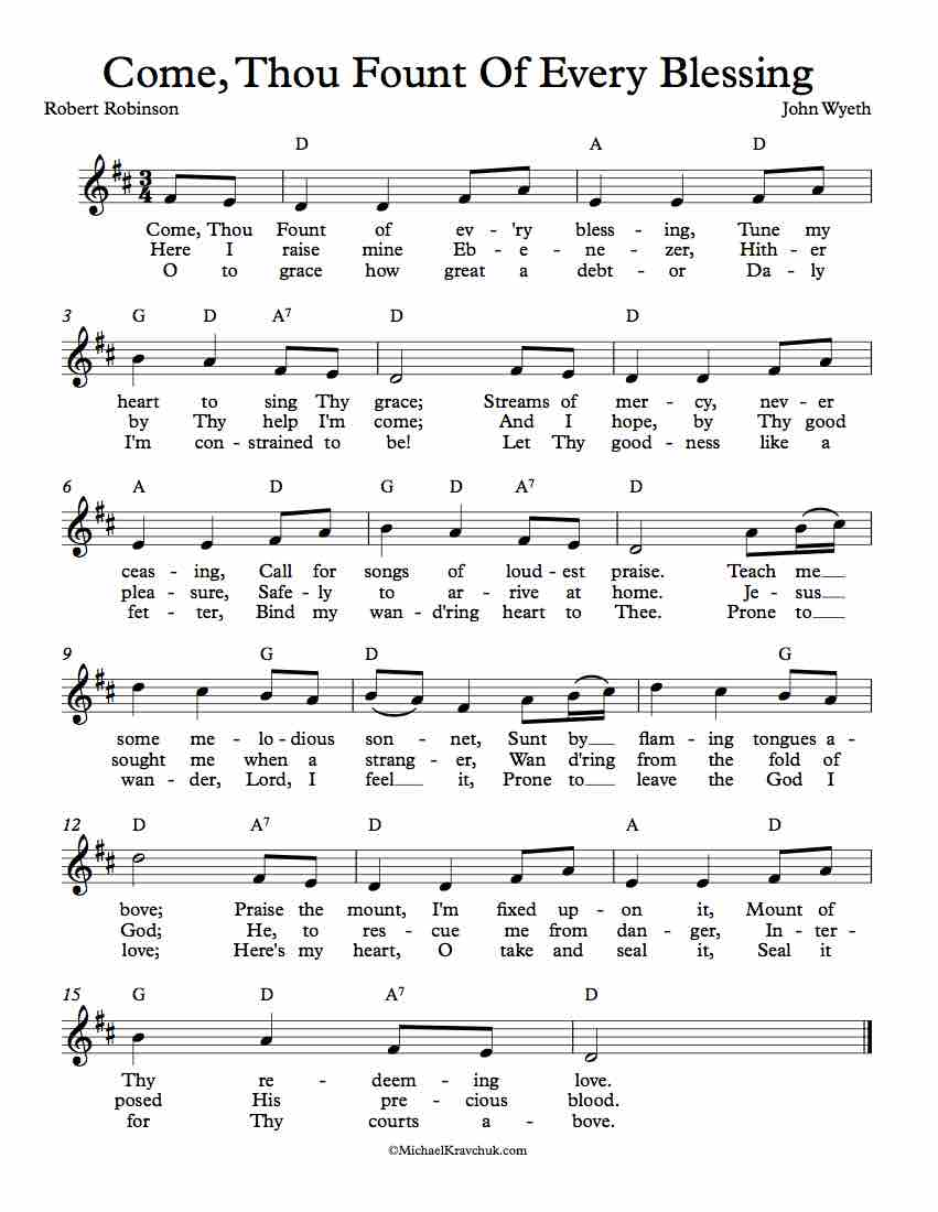 Free Lead Sheet - Come Thou Fount Of Every Blessing