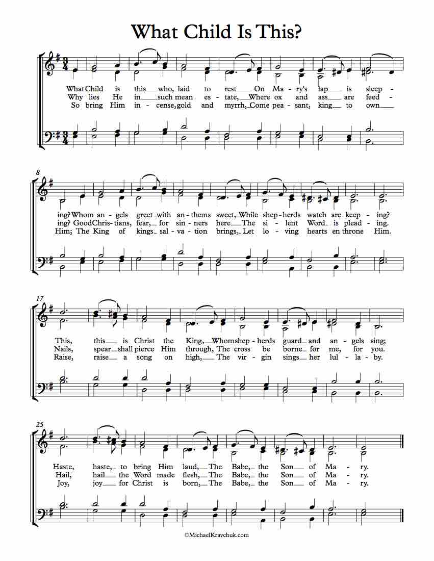 Free Choir Sheet Music - What Child Is This?