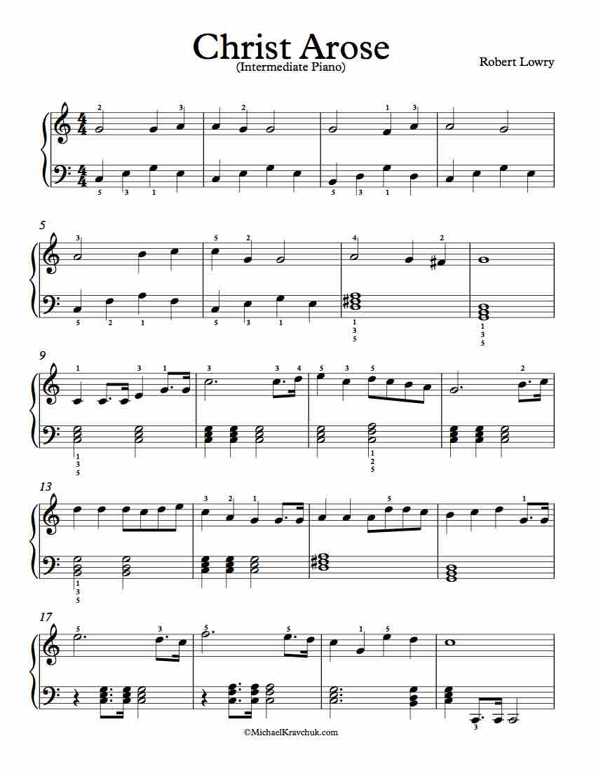 Free Piano Arrangement Sheet Music – Christ Arose (Up From The Grave