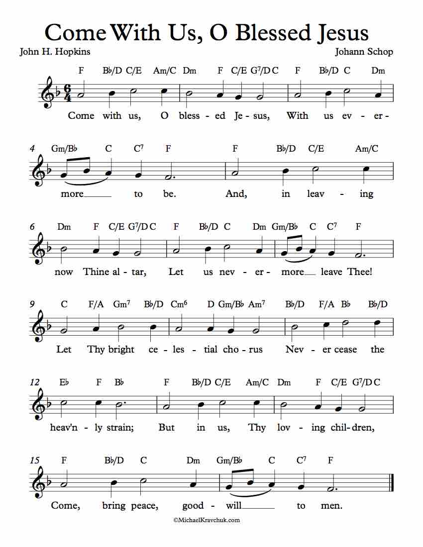 Free Lead Sheet - Come With Us, O Blessed Jesus