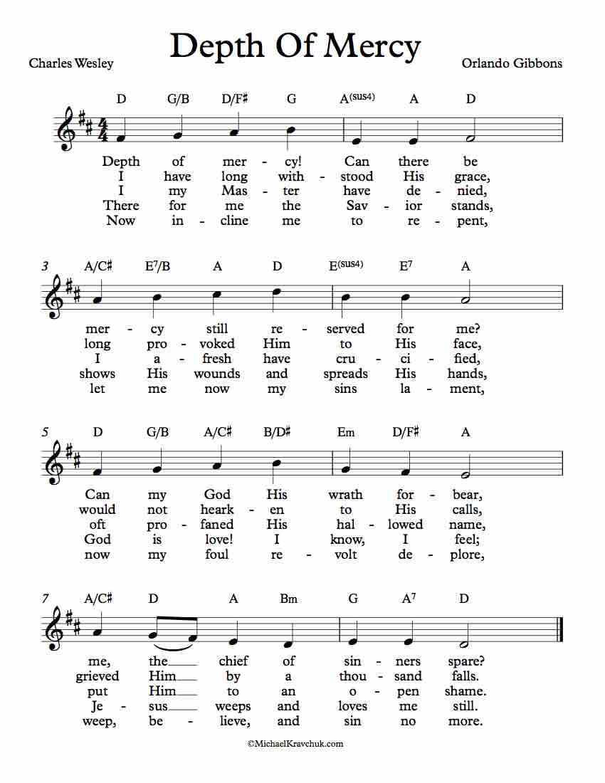 Free Lead Sheet - Depth Of Mercy