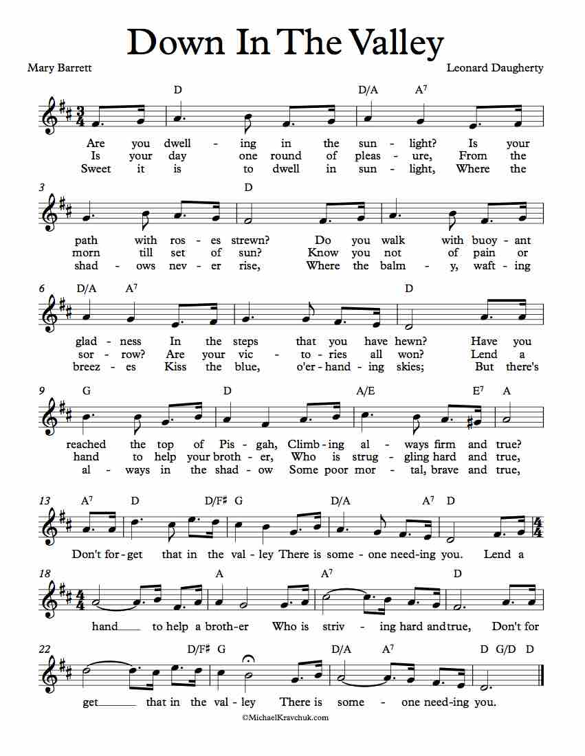 Free Lead Sheet - Down In The Valley (Hymn)