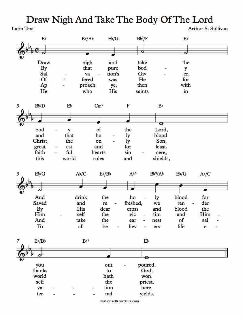 Free Lead Sheet - Draw Nigh And Take The Body Of The Lord