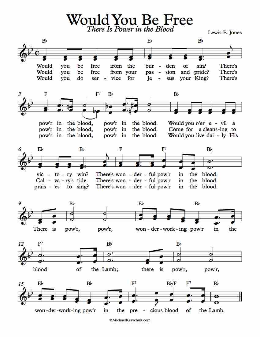 Free Lead Sheet Music - There Is Power In The Blood