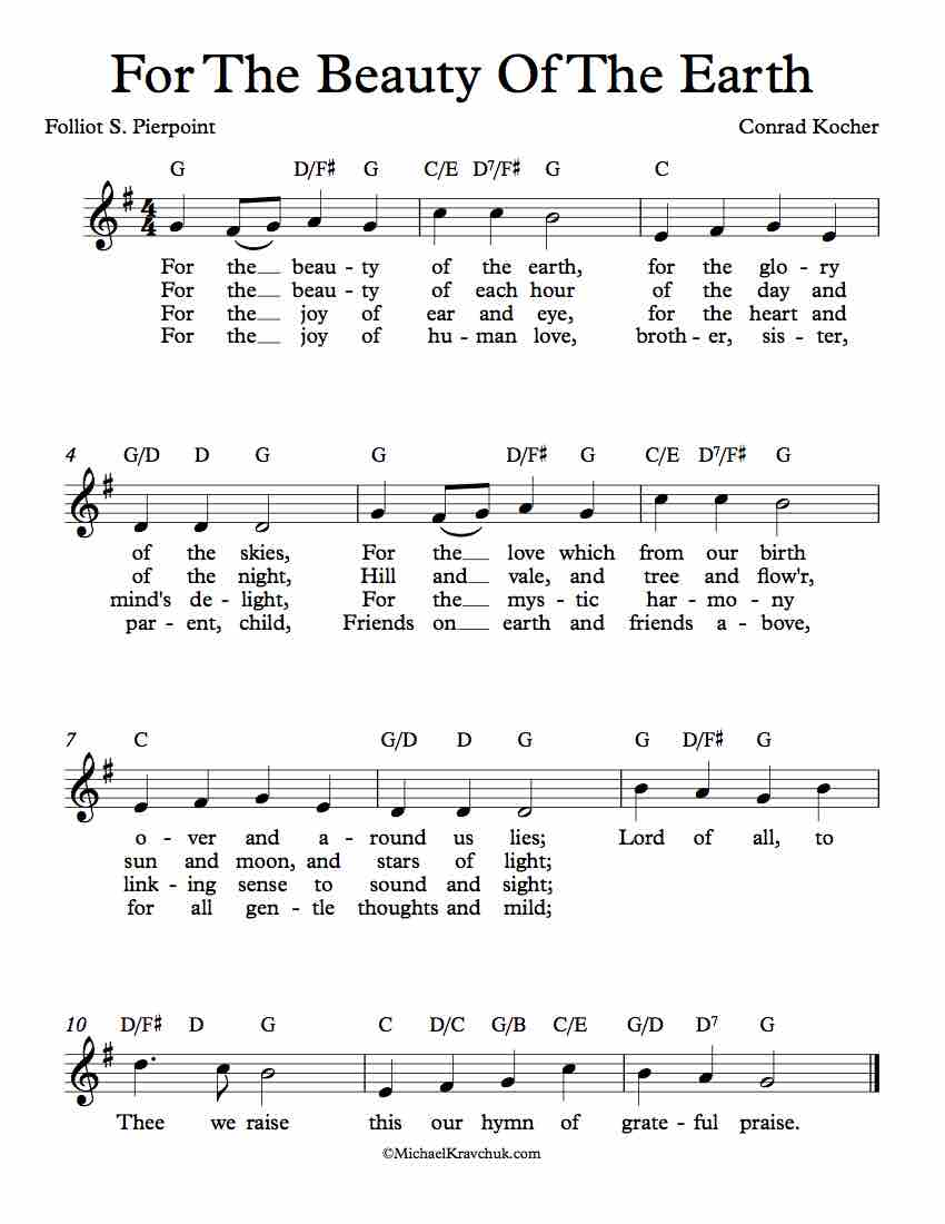 Free Lead Sheet - For The Beauty Of The Earth