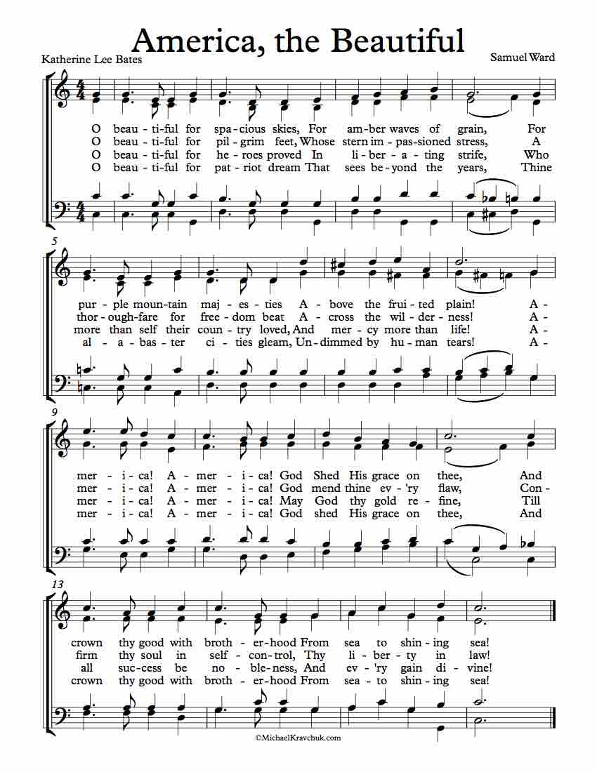 Free Choir Sheet Music - America The Beautiful