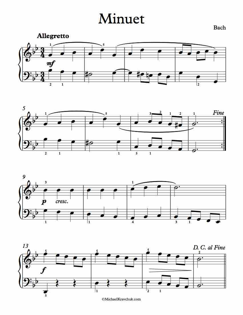 Free Piano Sheet Music - Minuet In G Minor (2) - Bach