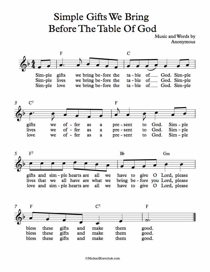 Free Lead Sheet - Simple Gifts We Bring  Before The Table Of God