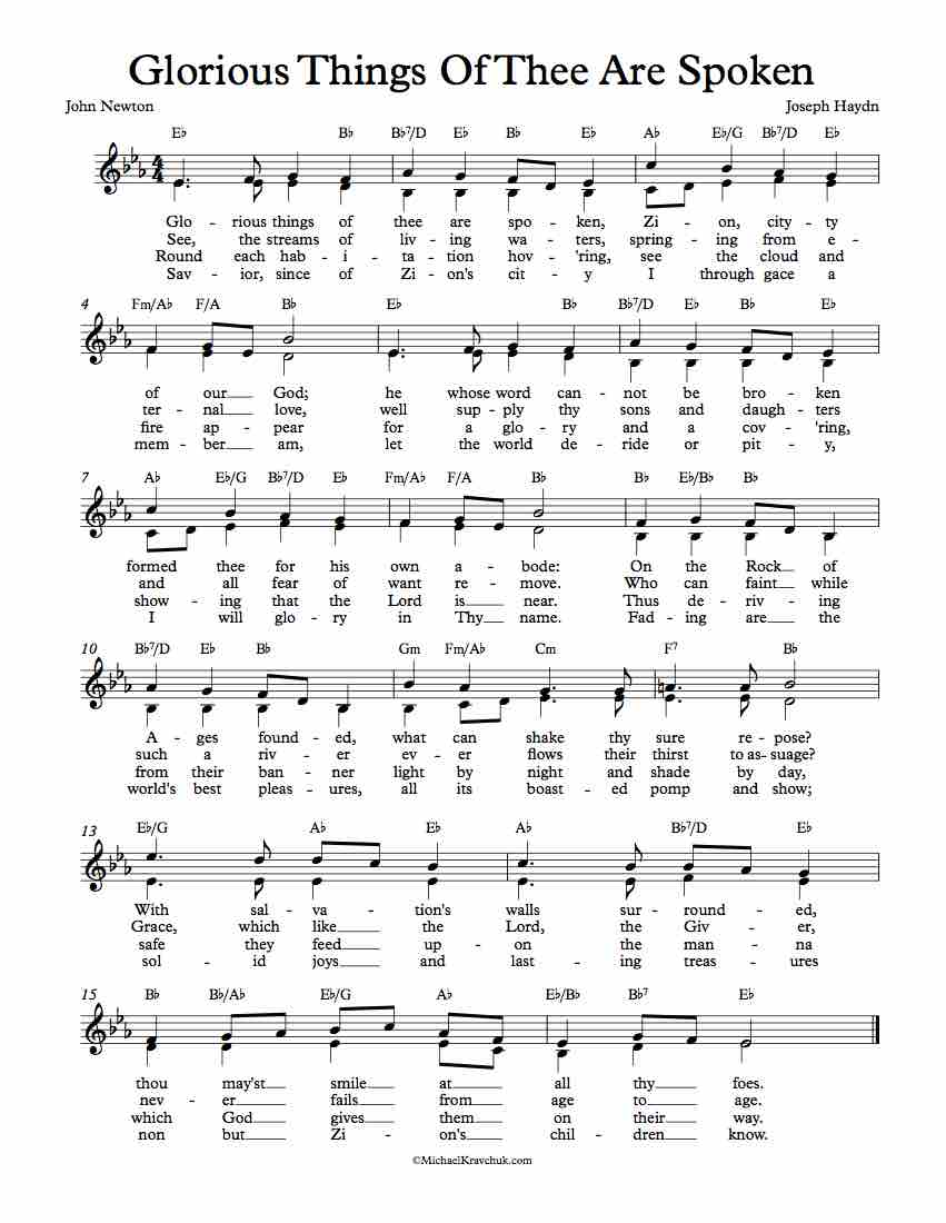 Free Lead Sheet - Glorious Things Of Thee Are Spoken