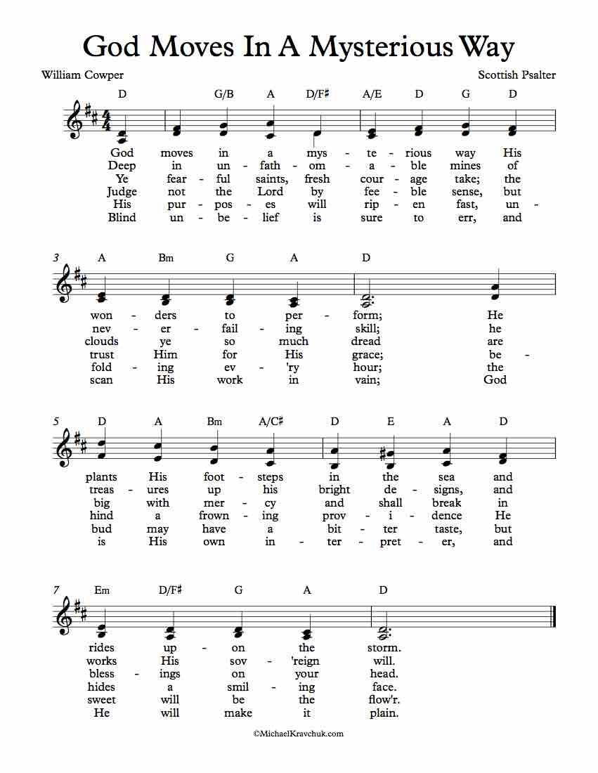 Free Lead Sheet - God Moves In A Mysterious Way