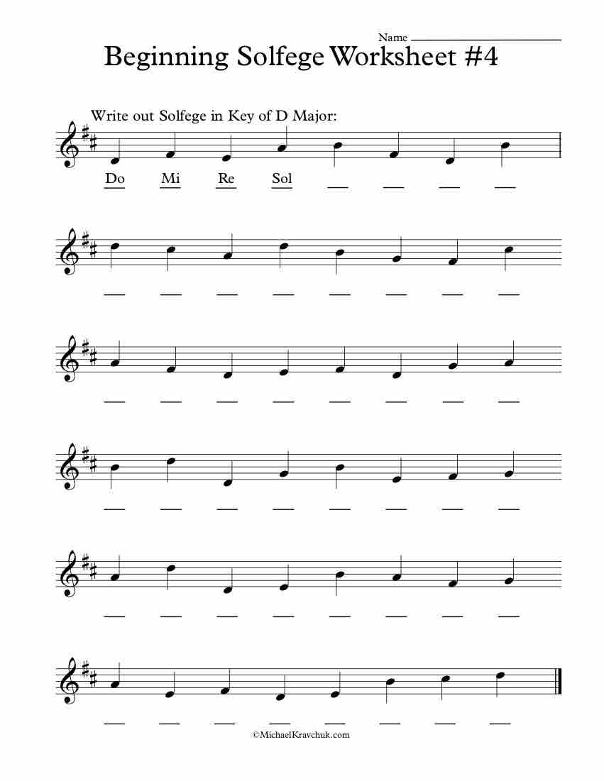 Beginning Worksheet #4 - Solfege Worksheets for Classroom Instruction