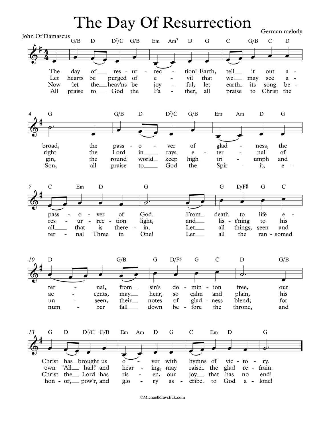 Free Lead Sheet - The Day Of Resurrection