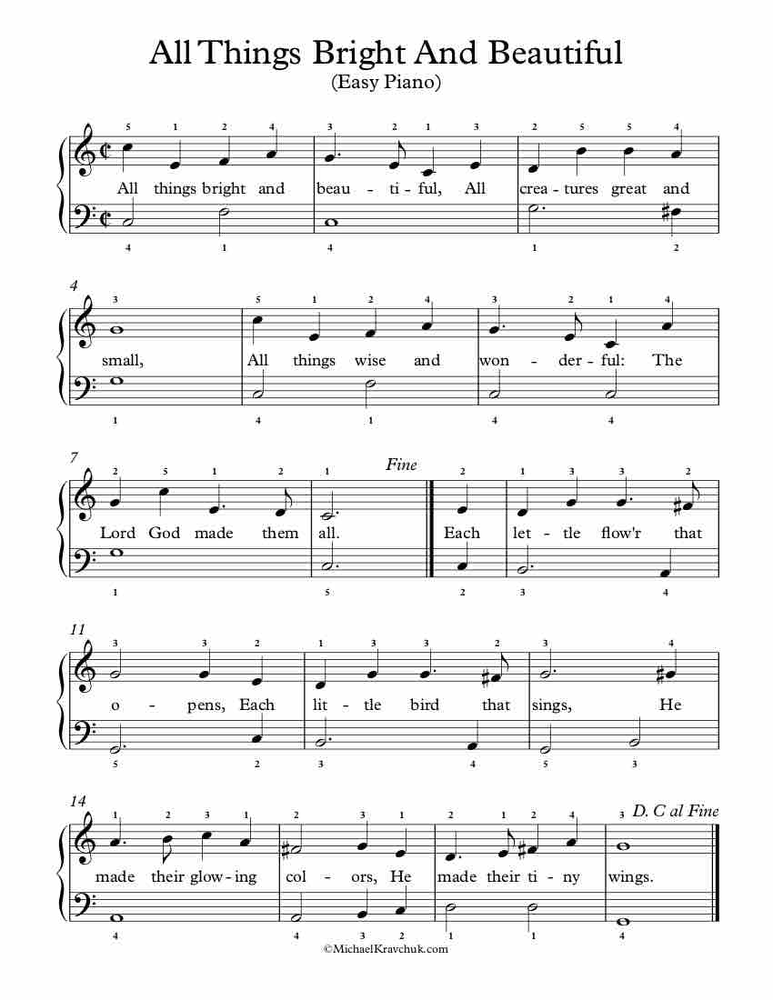 all creatures great and small piano sheet music free