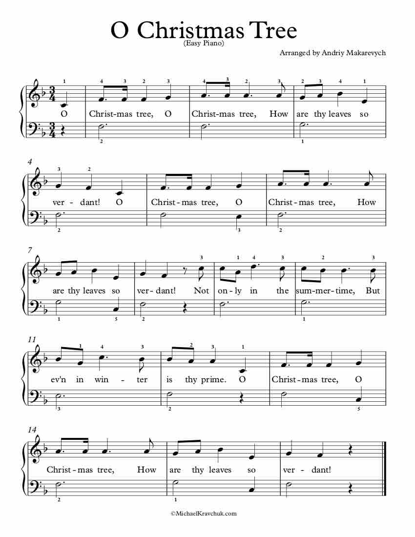 Sheet Music – O Christmas Tree
