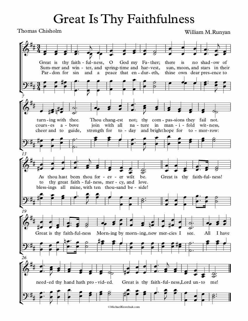 Free Choir Sheet Music - Great Is Thy Faithfulness