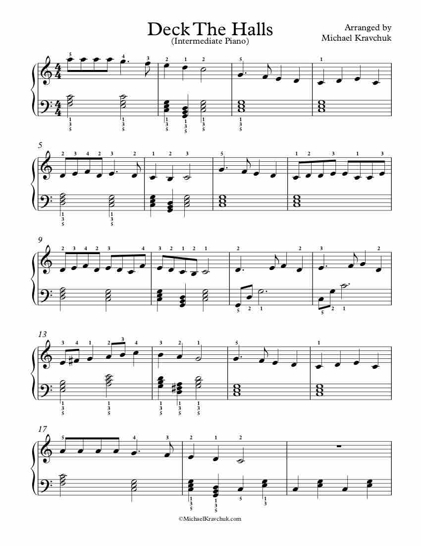 Free Piano Arrangement Sheet Music – Deck The Halls
