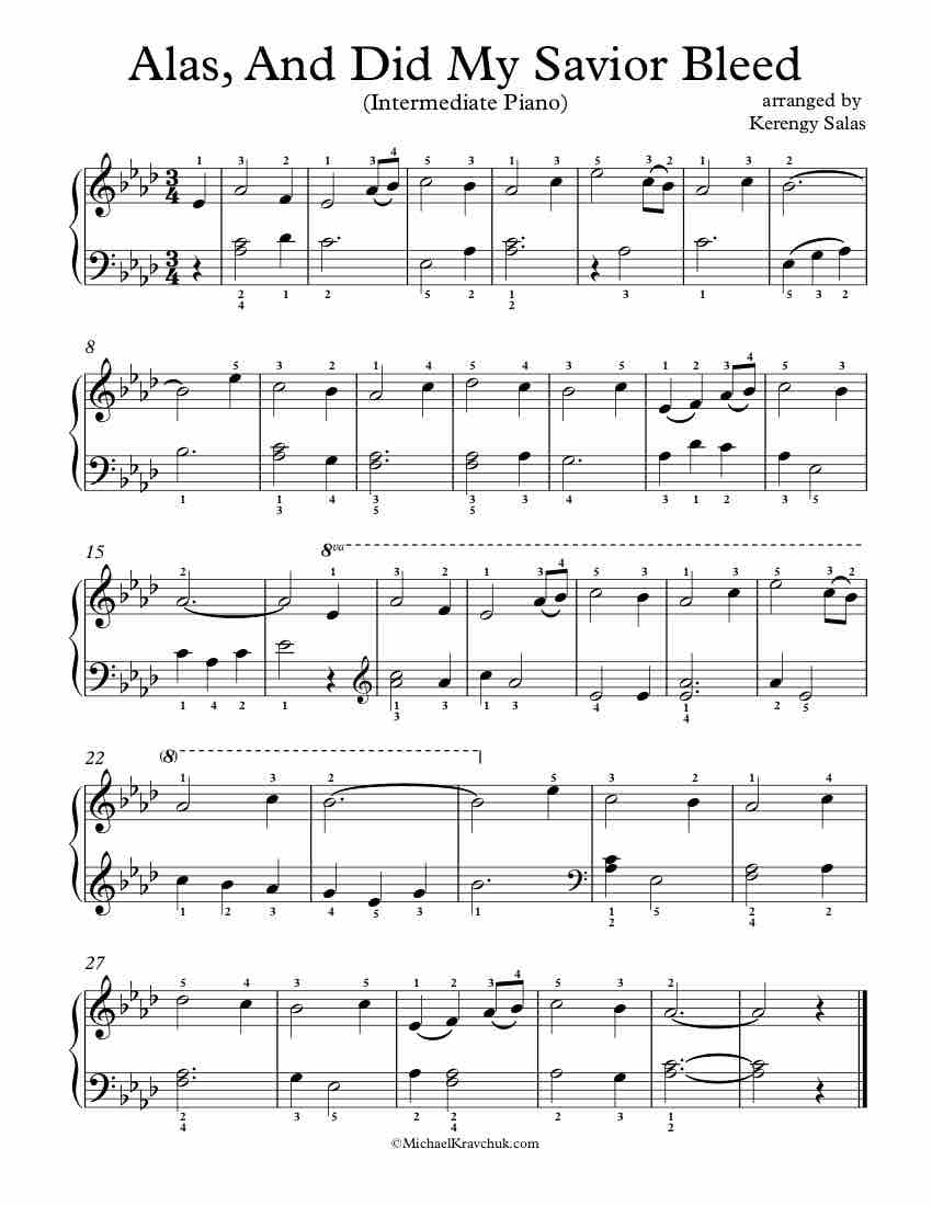 Free Piano Arrangement Sheet Music - Alas, And Did My Savior Bleed
