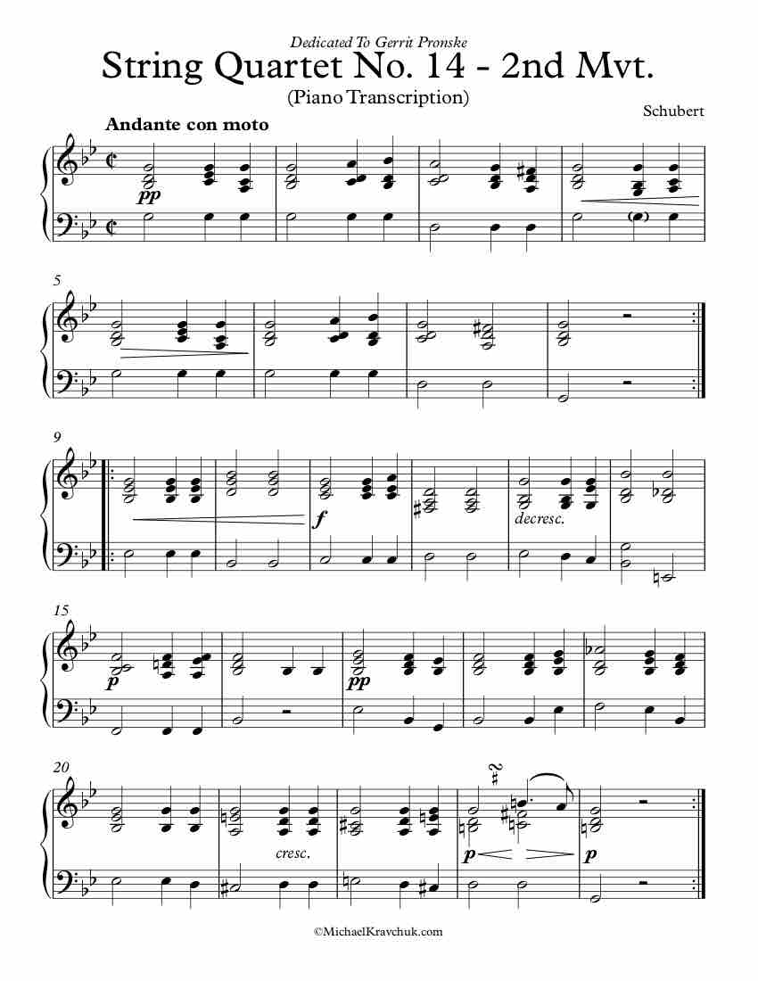 Free Piano Sheet Music - String Quartet No. 14 - Piano Transcription - 2nd Movement - Schubert
