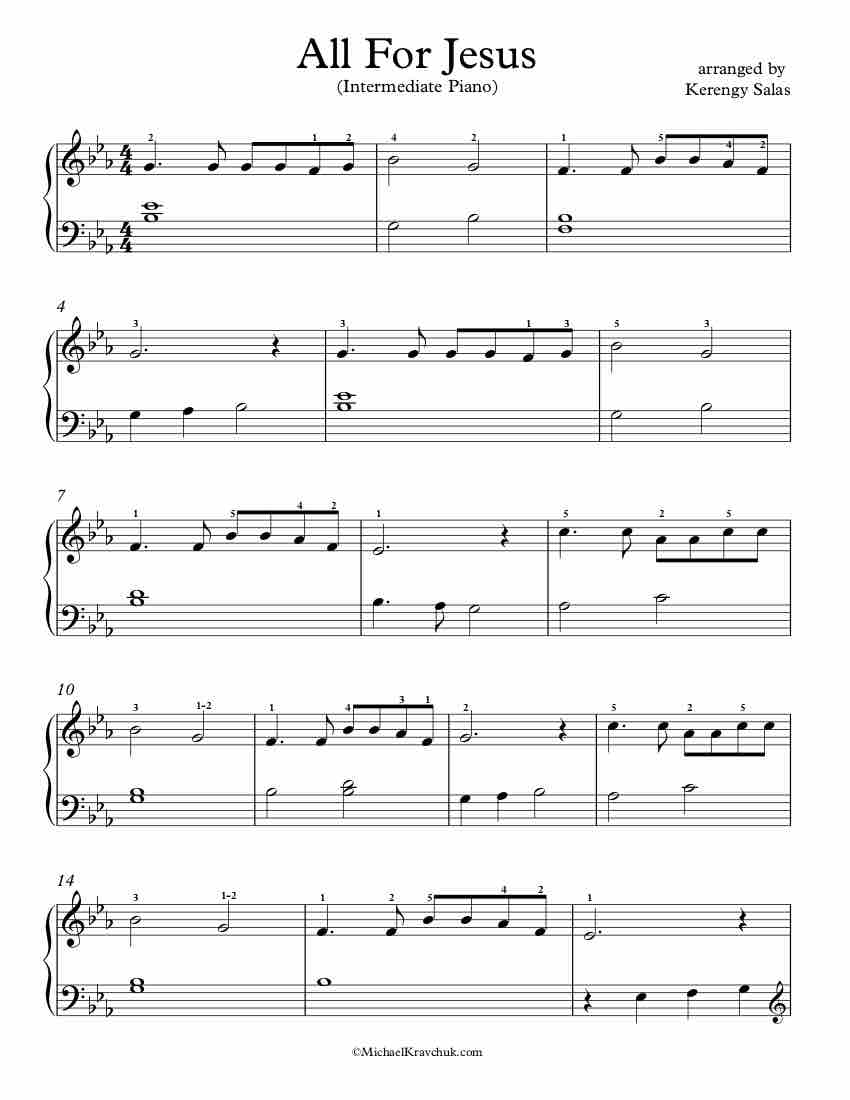 Free Piano Arrangement Sheet Music - All For Jesus