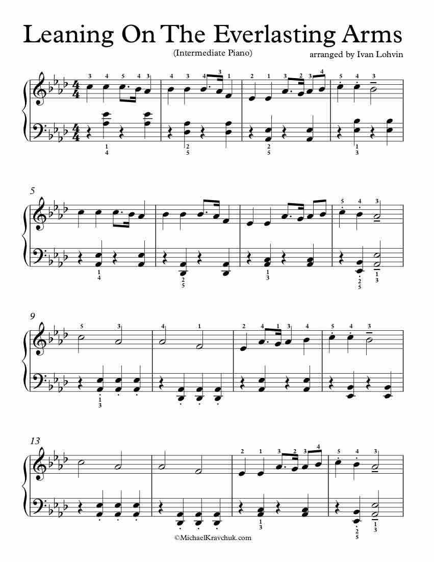 Free Piano Arrangement Sheet Music - Leaning On The Everlasting Arms