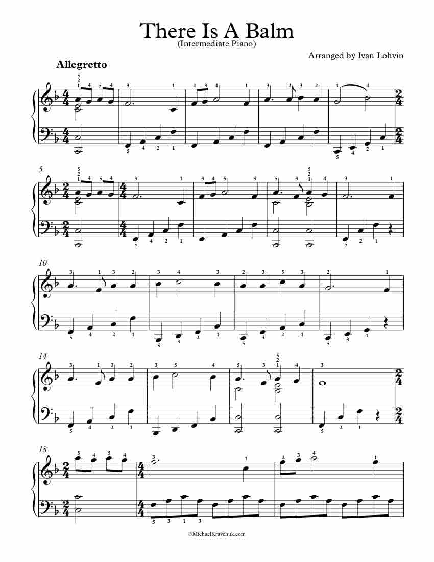 Free Piano Arrangement Sheet Music - There Is A Balm
