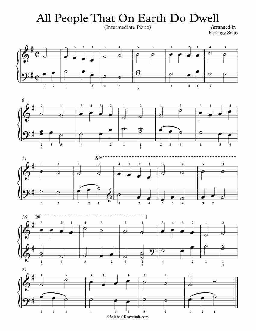 Free Piano Arrangement Sheet Music - All People That On Earth Do Dwell