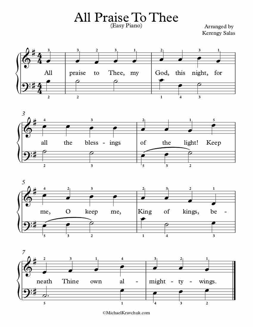 Free Piano Arrangement Sheet Music - All Praise To Thee