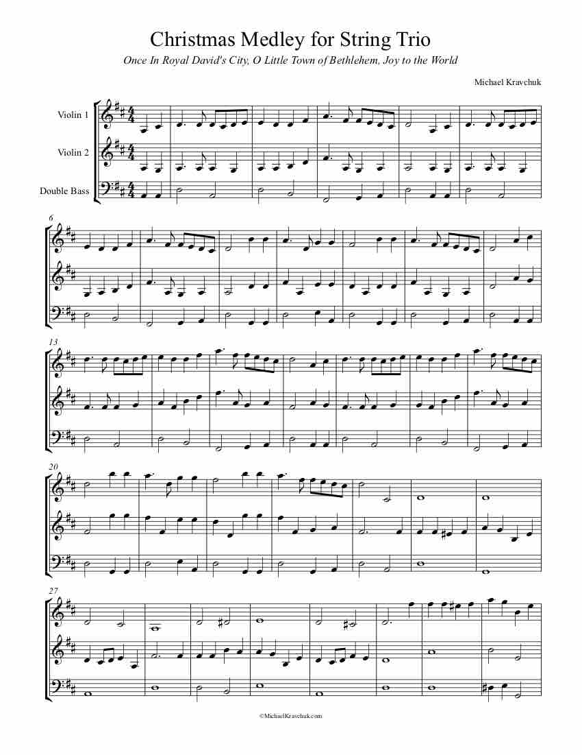 Free Christmas Medley Sheet Music for String Trio