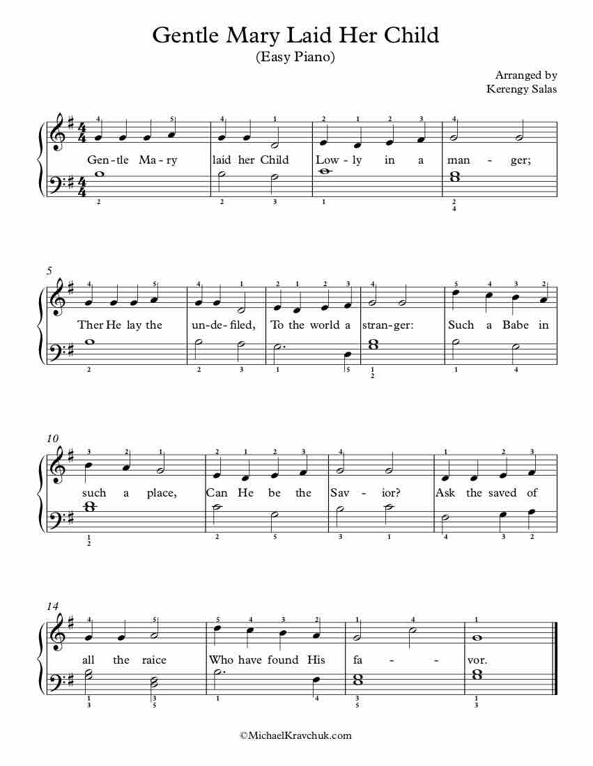Free Piano Arrangement Sheet Music – Gentle Mary Laid Her Child