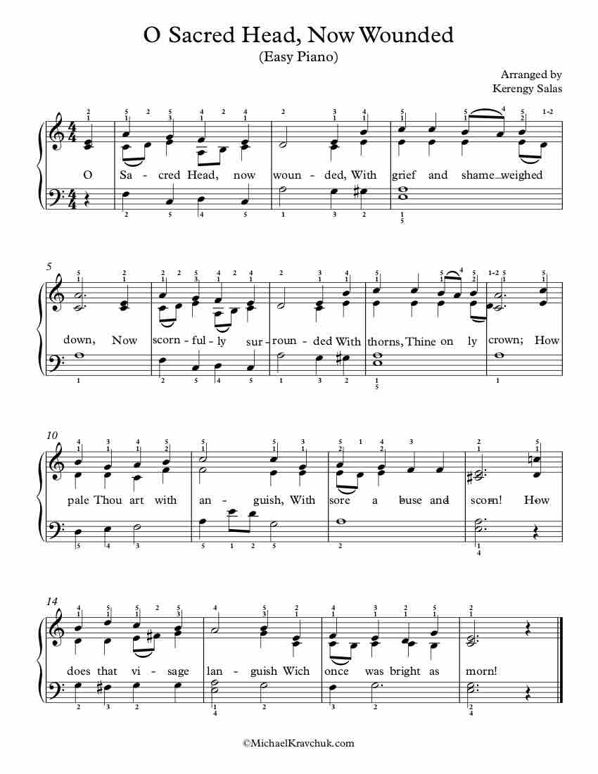 Free Piano Arrangement Sheet Music – O Sacred Head Now Wounded