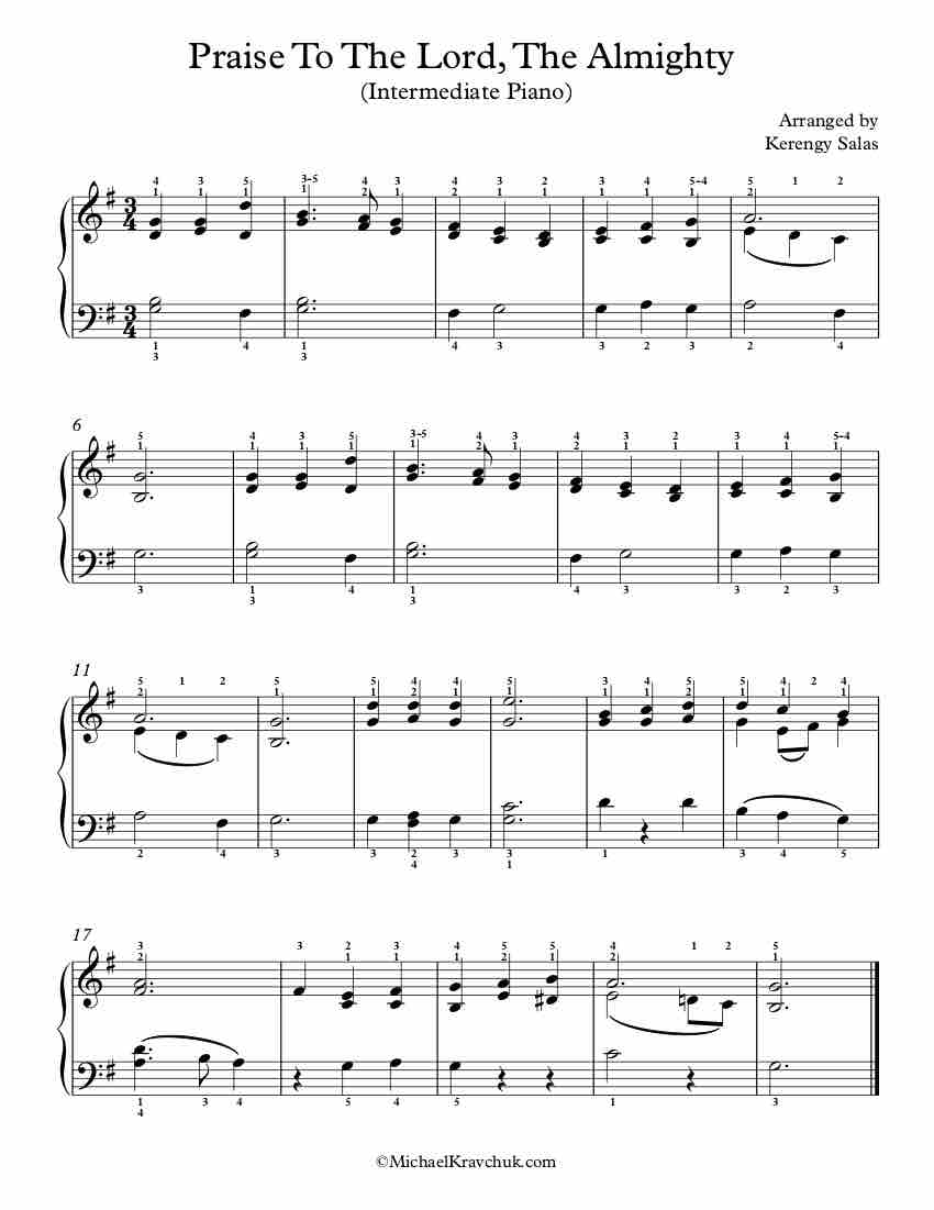 Free Piano Arrangement Sheet Music – Praise To The Lord, Thee Almighty