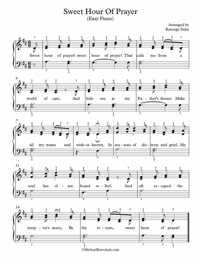 Free Piano Arrangement Sheet Music – Sweet Hour Of Prayer