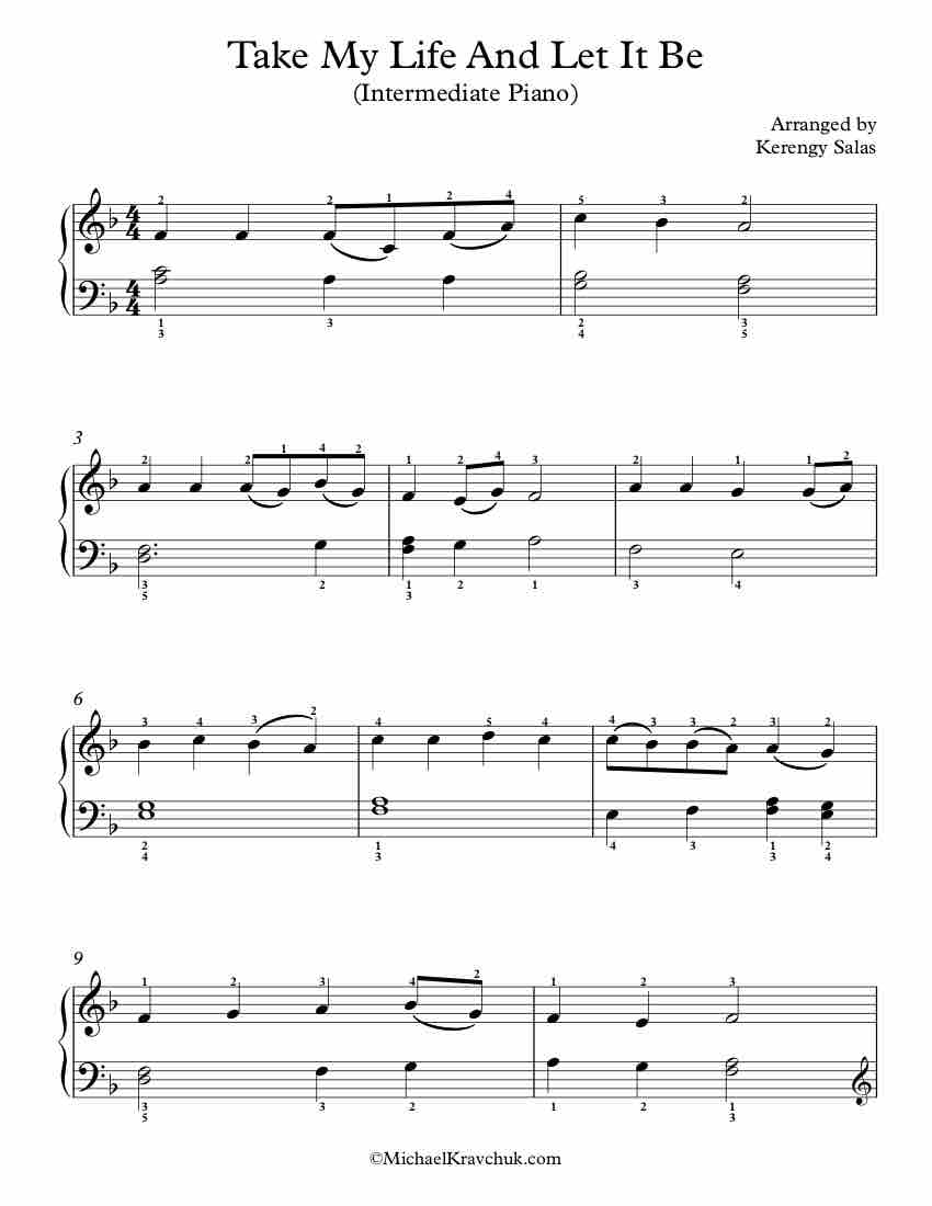 Free Piano Arrangement Sheet Music – Take My Life And Let It Be