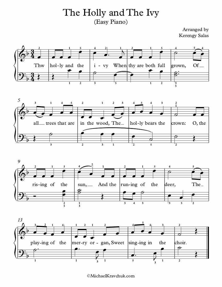 Free Piano Arrangement Sheet Music – The Holly And The Ivy