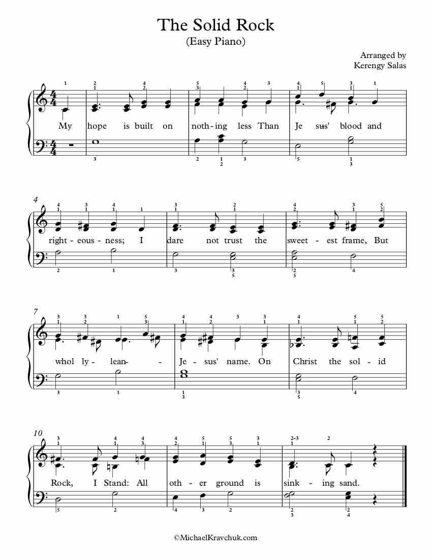 Free Piano Arrangement Sheet Music – The Solid Rock (Melita)