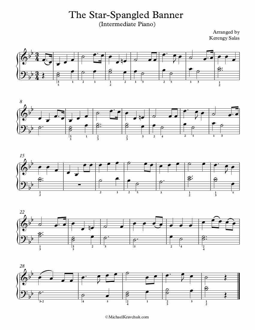 Free Piano Arrangement Sheet Music – The Star Spangled Banner