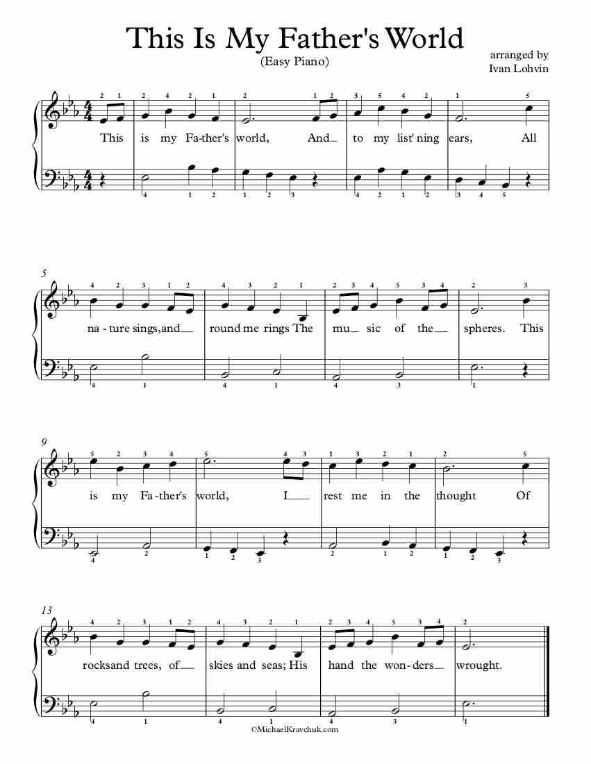 Free Piano Arrangement Sheet Music - This Is My Father's World