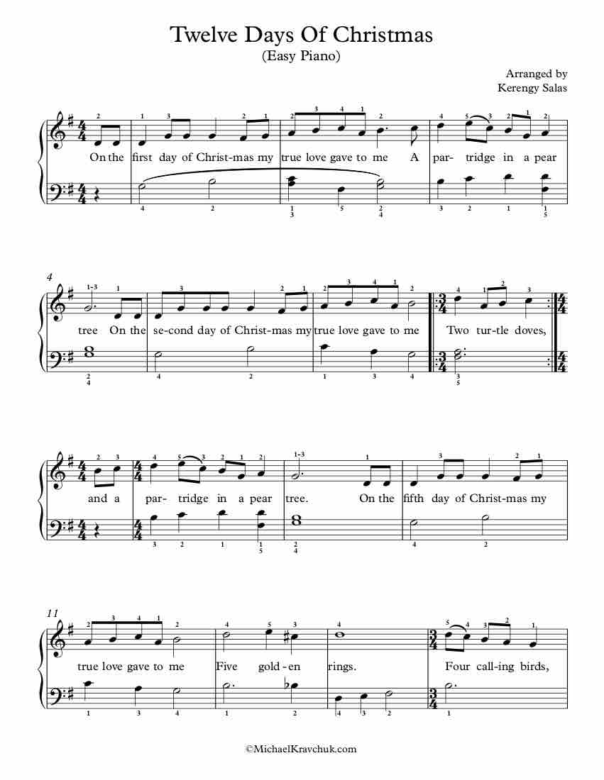 Free Piano Arrangement Sheet Music – Twelve Days Of Christmas