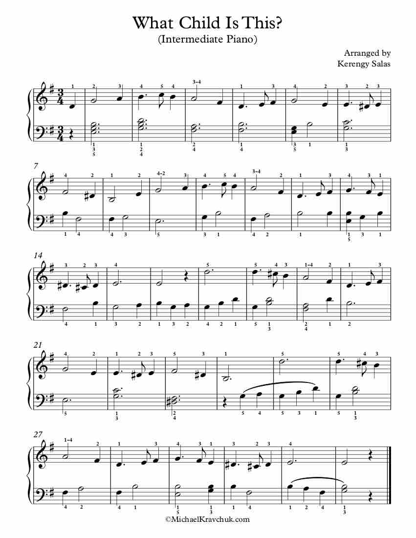 Free Piano Arrangement Sheet Music – What Child Is This?