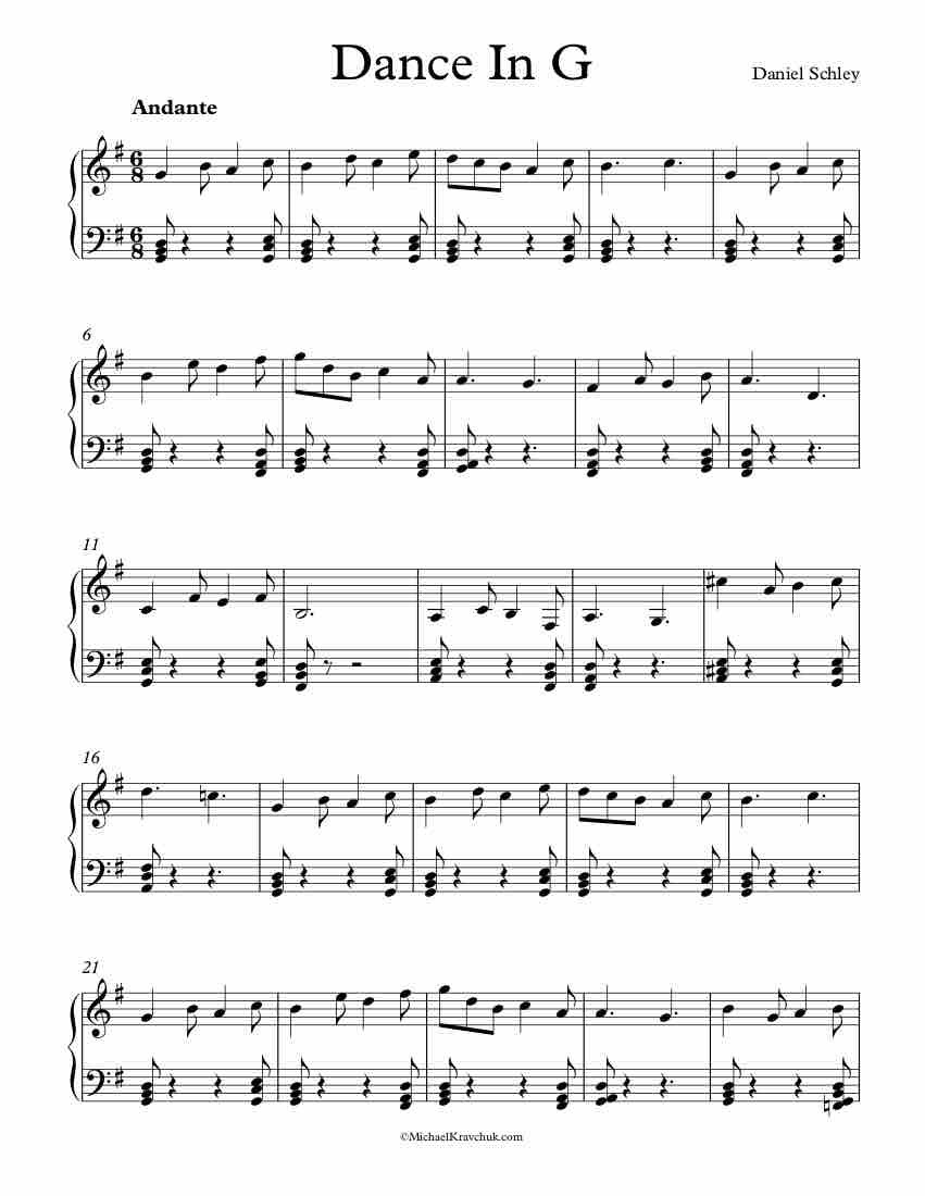 Free Piano Sheet Music - Dance In G - Schley